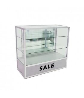 Glas Toonbank Vintage Sale - Balie B120xH110xD55cm Alu. Zilver