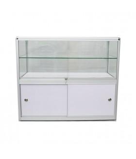 Glas Toonbank Ultra - Balie B120xH100xD55cm Alu. Zilver