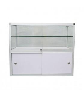 Glas Toonbank Vintage - Balie B120xH100xD55cm Alu. Zilver