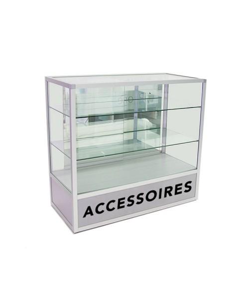 Glas Toonbank Vintage Accessoires - Balie B120xH110xD55cm Alu. Zilver